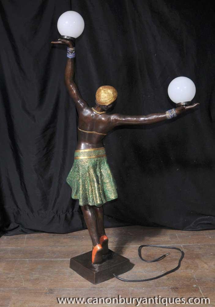 Large French Bronze Art Deco Dancer Light Lamp Figurine Statue