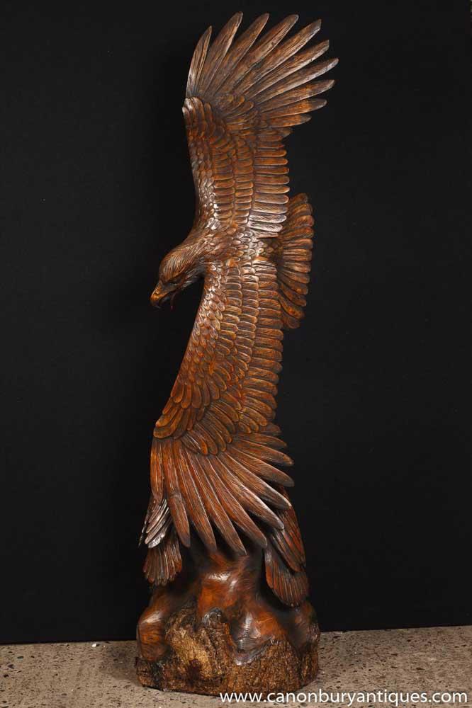 Large Hand Carved Oak American Eagle Statue Bird Prey Bald
