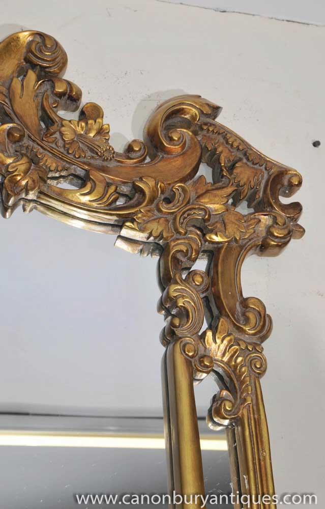 Large Louis Xv Rococo Gilt Mantle Mirror Pier Mirrors