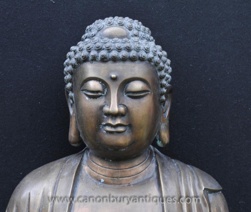 Large Tibetan Bronze Buddha Statue Buddhism Lotus