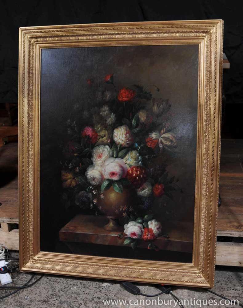 Large Victorian Floral Oil Painting Still Life Gilt Frame
