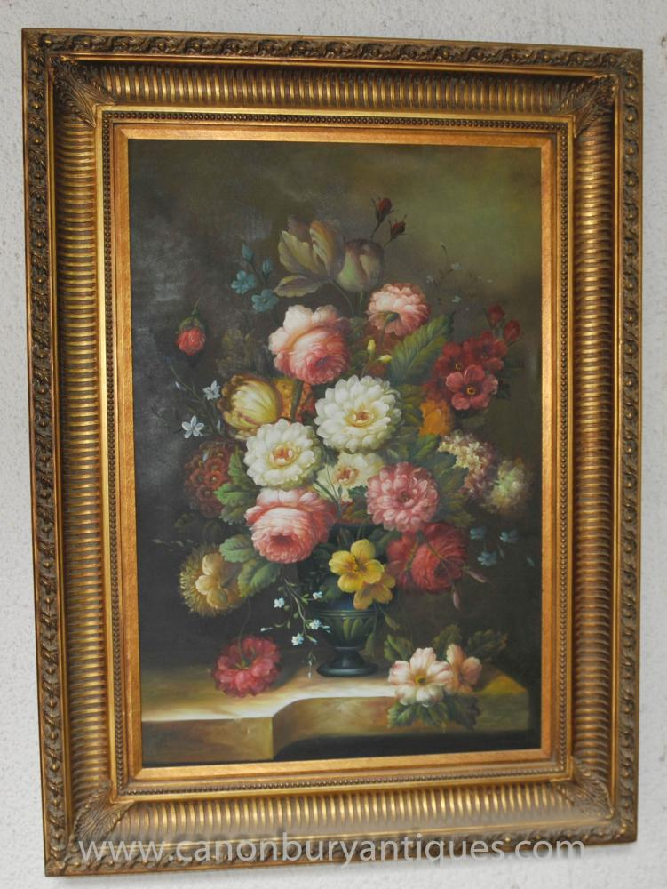 Large Victorian Floral Still Life Oil Painting Flowers Gilt