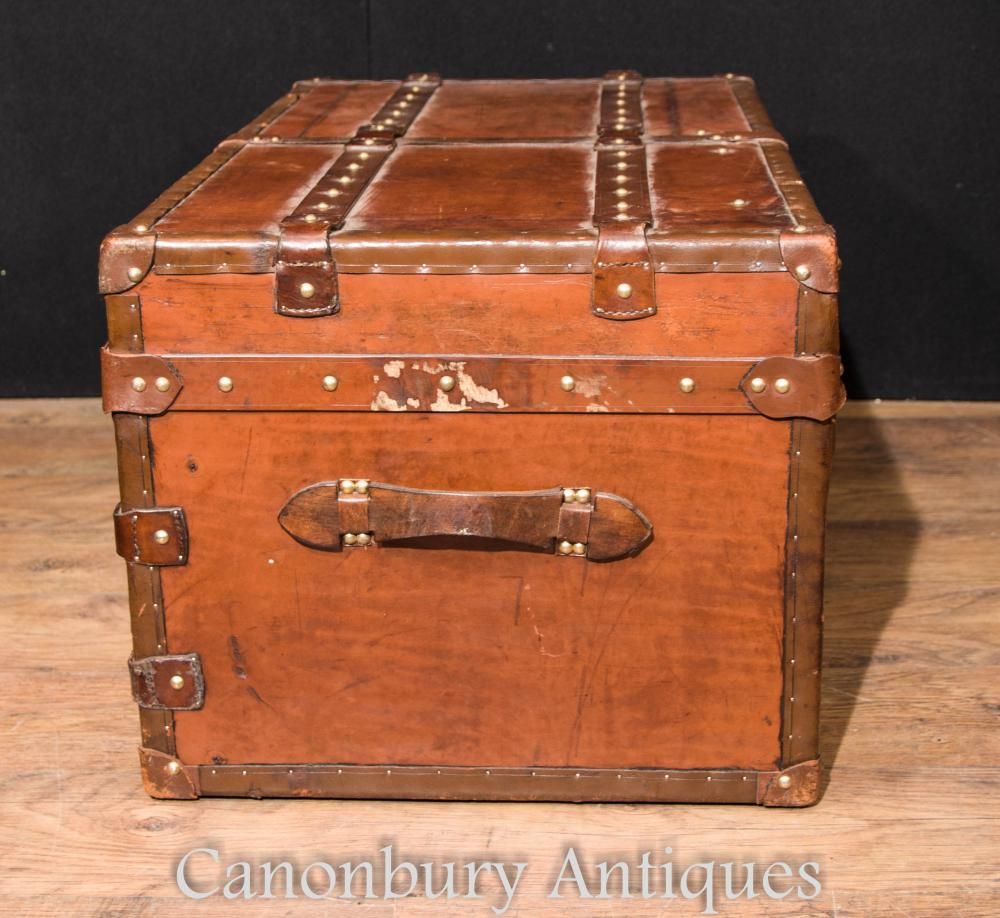 Large Antique English Leather Trunk Luggage Case Steamer