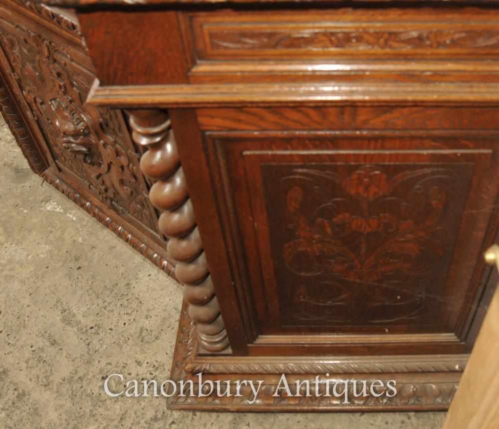 Large Antique Oak Cabinet Bookcase Farmhouse Barley Twist 1880