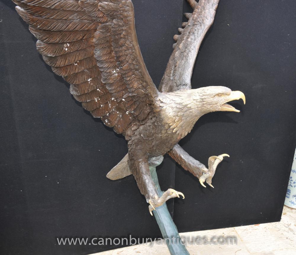 Large Bronze American Golden Eagle Statue Birds Eagles 6 Ft