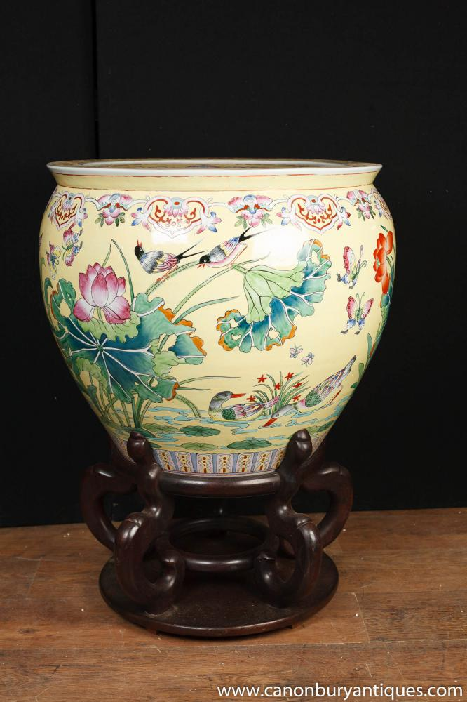 Large Chinese Porcelain Famille Rose Planter Bowl Urn