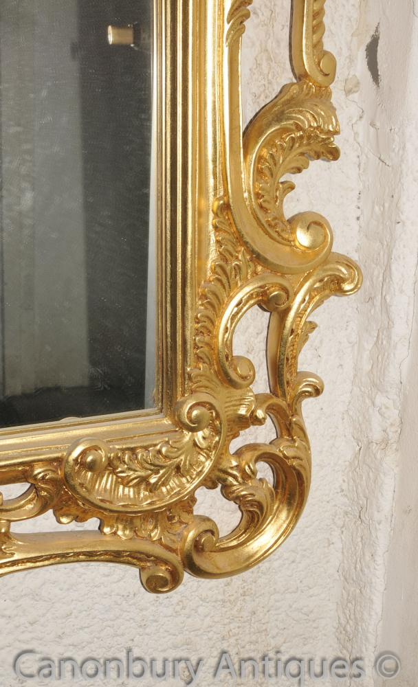 Large Chippendale Rococo Gilt Pier Mirror Glass Mirrors