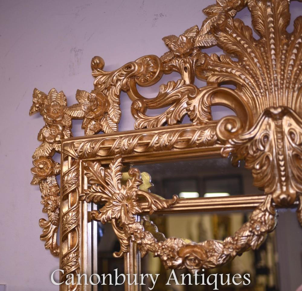 Large English Rococo Gilt Pier Mirror Gilded