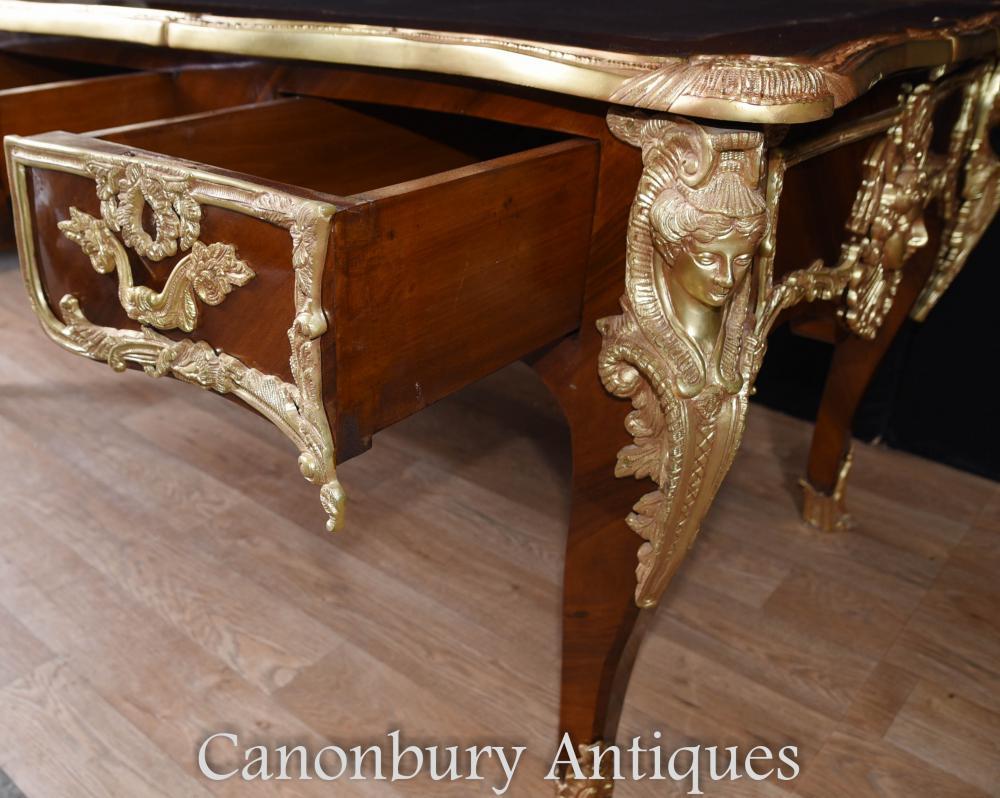 Large french empire bureau plat desk writing table for Bureau french