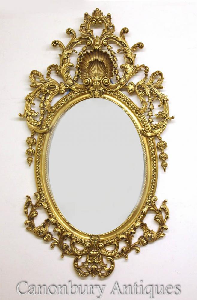Large French Louis Xvi Rococo Oval Mirror Gilt Frame