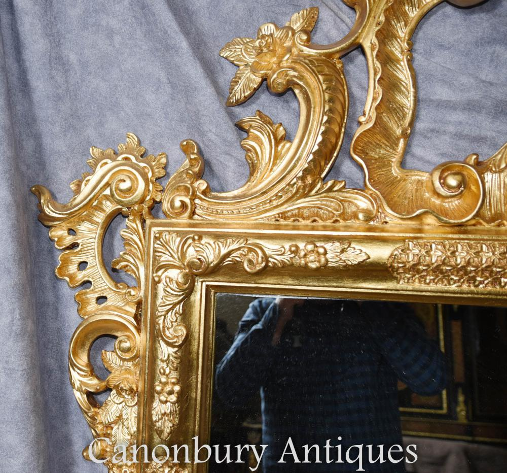 Large George Ii Gilt Pier Mirror Carved Frame Glass Mirrors