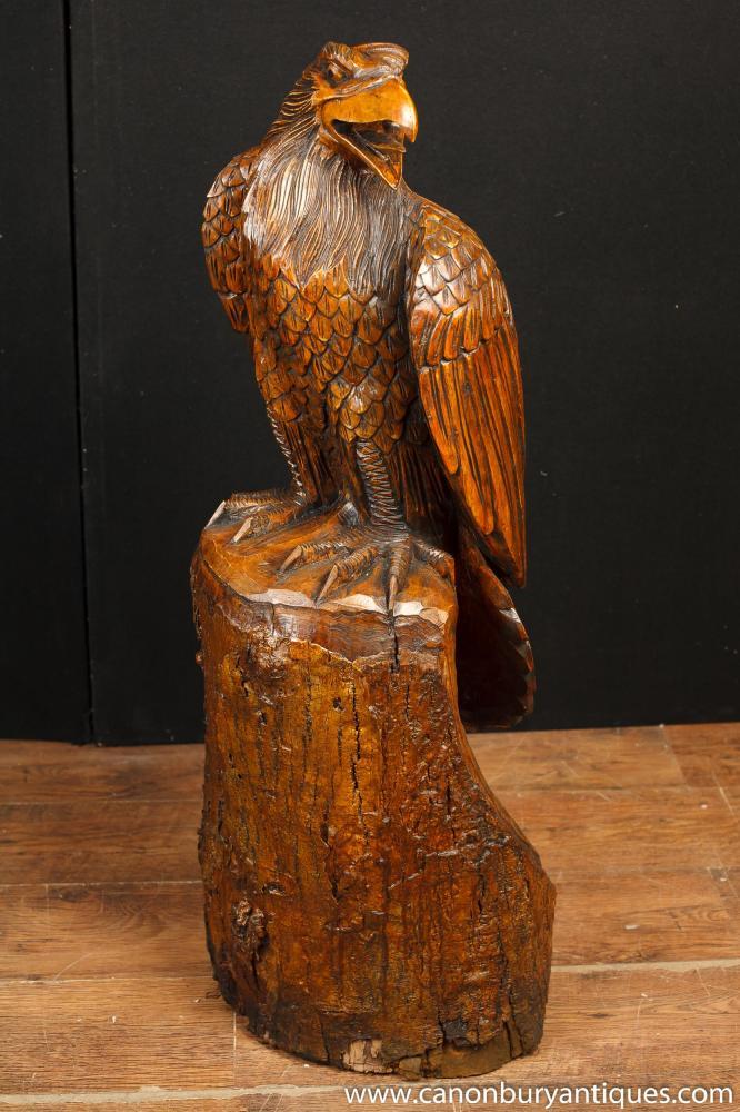 Large Hand Carved American Bald Eagle Statue Birds Prey