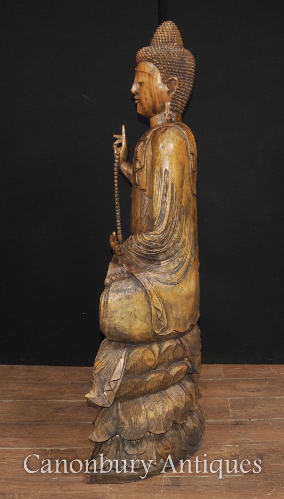 Large Hand Carved Tibetan Buddha Statue Buddhism Tibet