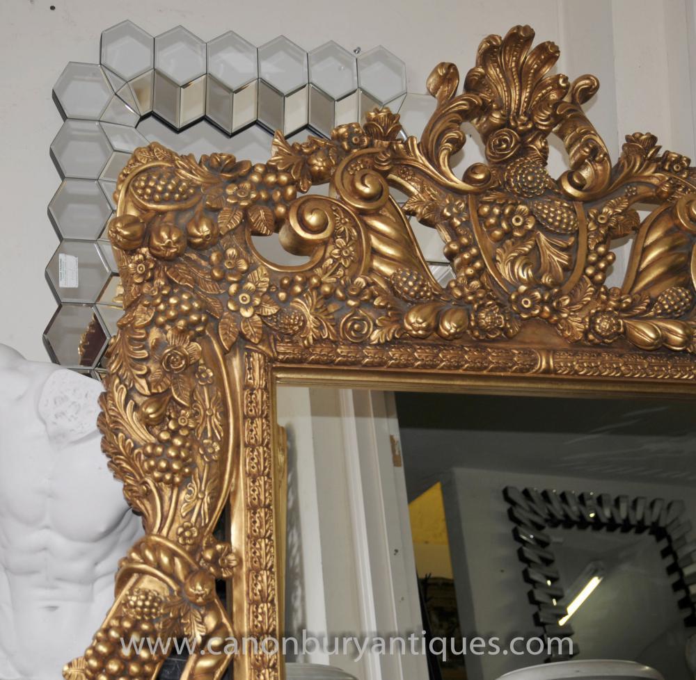 Large italian baroque gilt pier mirror glass mirrors for Italian baroque mirror