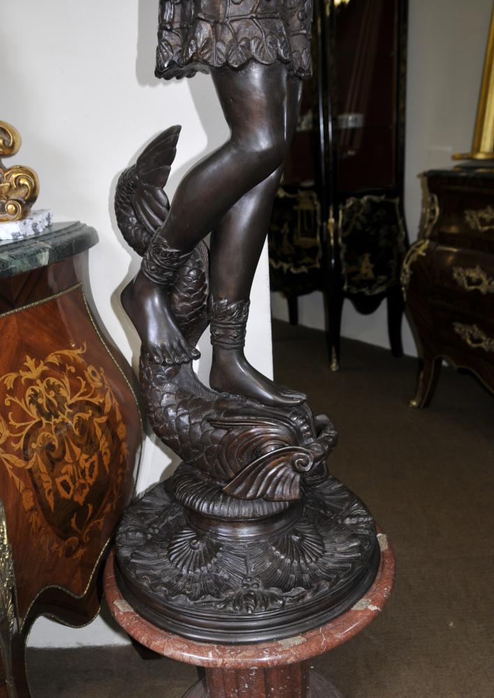 Joe For Oil >> Large Italian Bronze Classic Male Light Statue Torchere Light