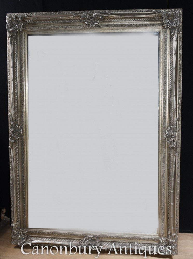 Large Victorian Mirror Silver Gilt Frame 7 Foot Tall