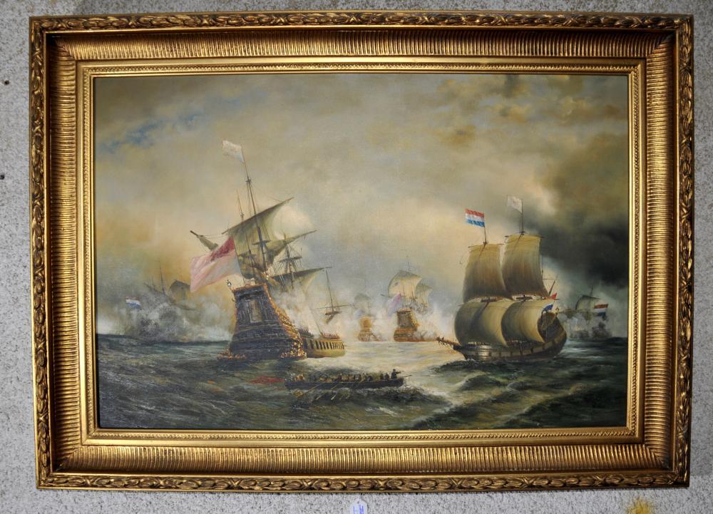 Large Victorian Oil Painting Battle Of Trafalgar Seascape