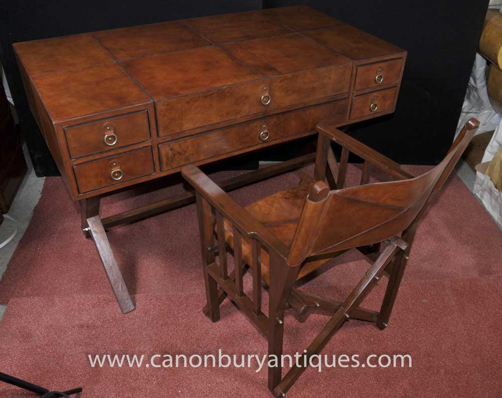 Leather Campaign Desk And Chair Set Writing Table Luggage