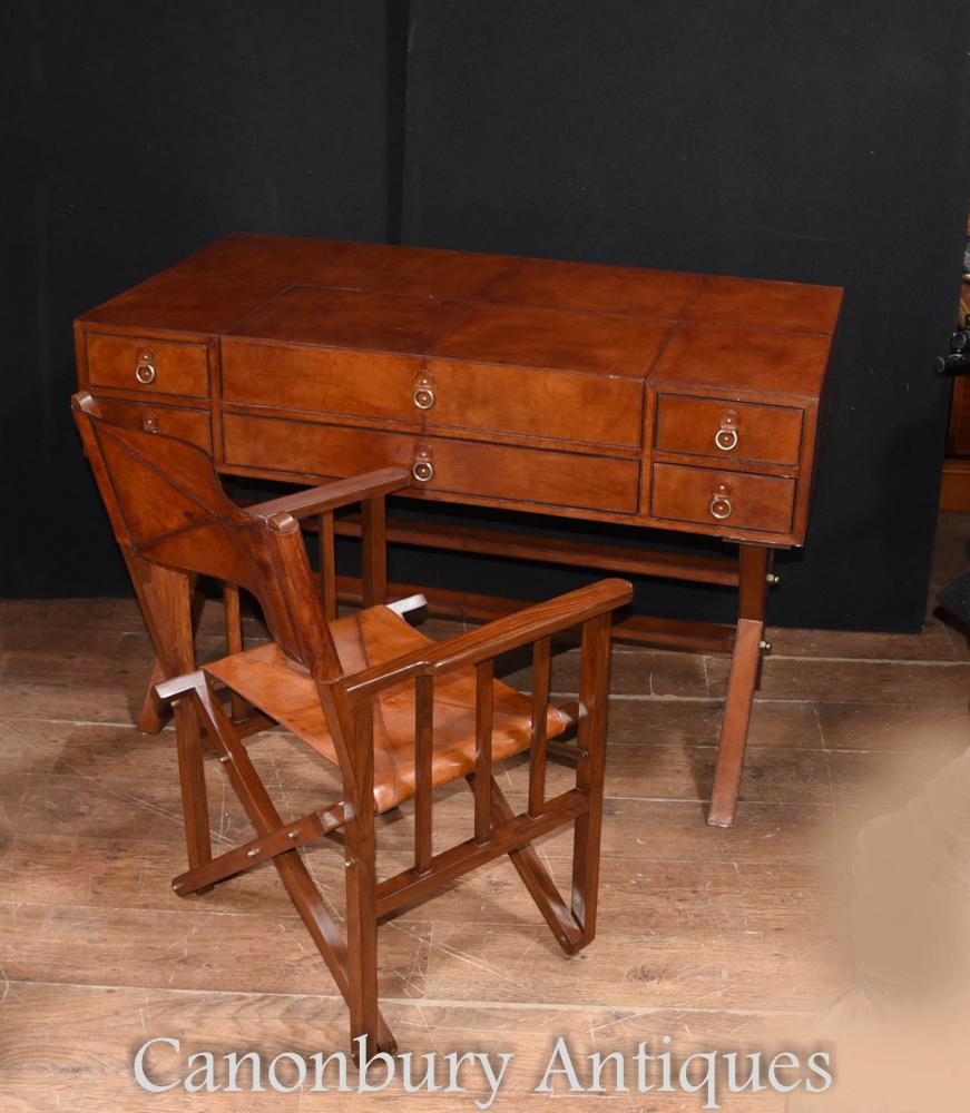 Furniture Tables And Chairs: Leather Campaign Desk And Chair Set Writing Table Luggage