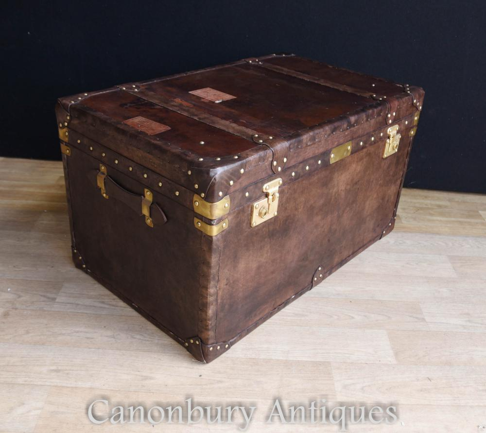 Leather Steamer Trunk Luggage Case Side Table Coffee