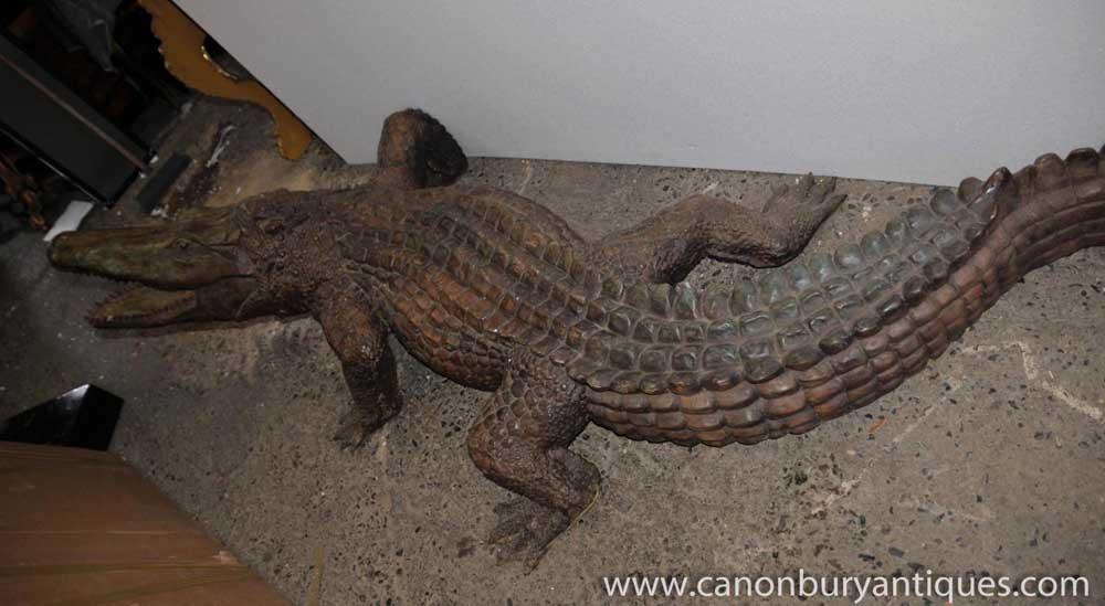 lifesize bronze crocodile alligator fountain statue. Black Bedroom Furniture Sets. Home Design Ideas