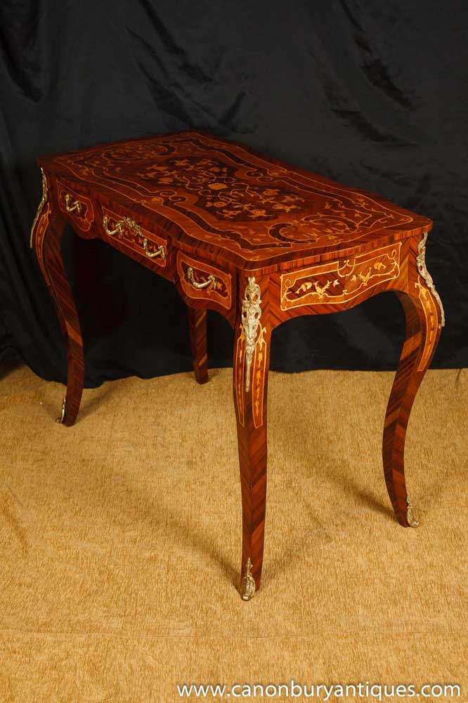 louis xv bureau plat desk writing table marquetry inlay dressing tables. Black Bedroom Furniture Sets. Home Design Ideas