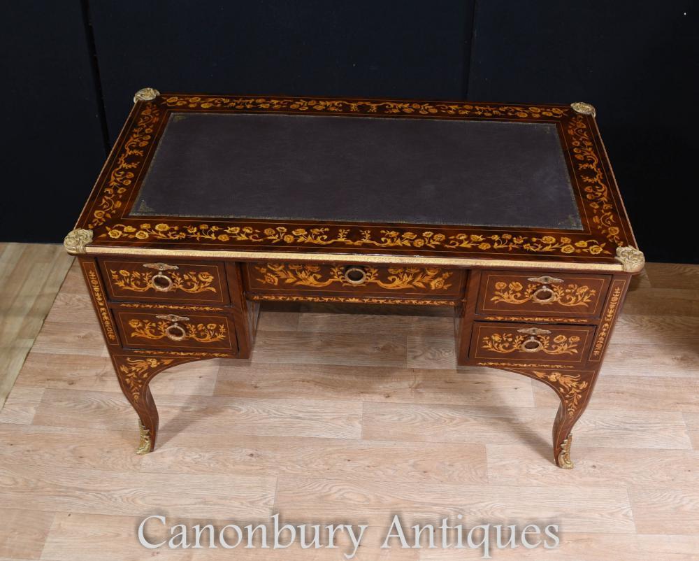 Louis xv knee hole desk writing table bureau inlay french for Bureau louis xv