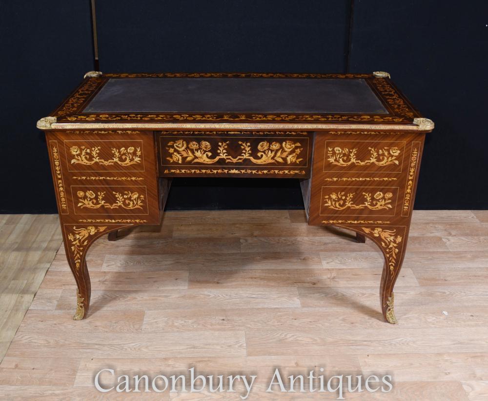 Louis xv knee hole desk writing table bureau inlay french for Bureau french