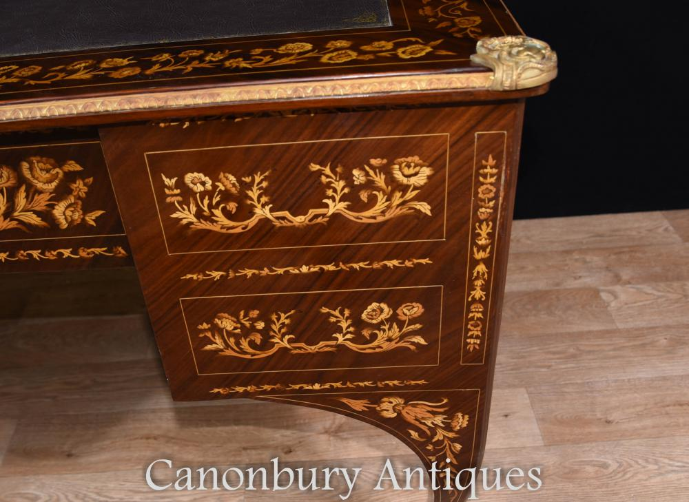 louis xv knee hole desk writing table bureau inlay french. Black Bedroom Furniture Sets. Home Design Ideas