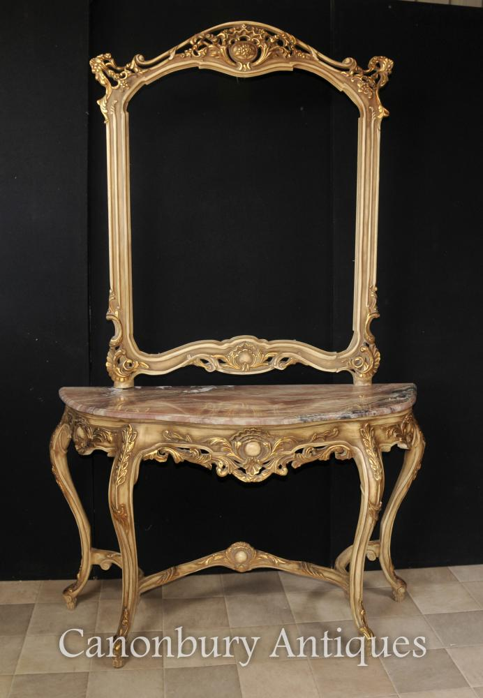 Louis Xvi Console Table And Mirror Set Gilt Wood Giltwood