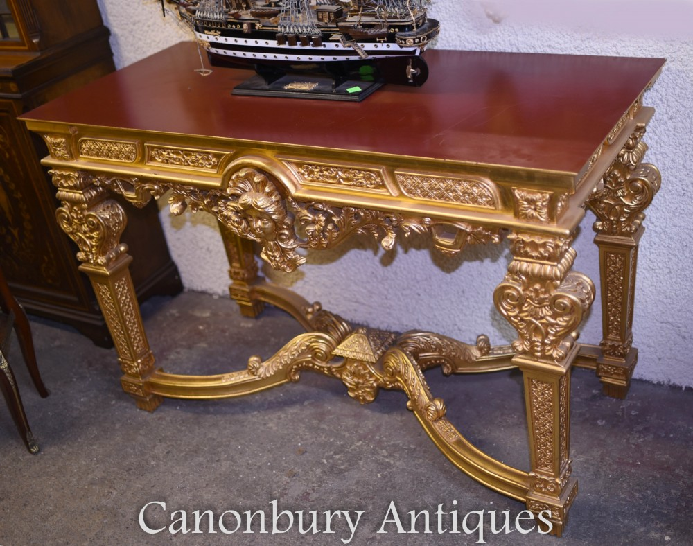 louis xvi gilt console table french gilded hall tables. Black Bedroom Furniture Sets. Home Design Ideas