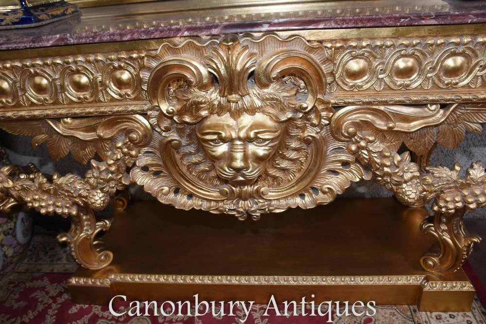 Louis Xvi Gilt Console Table And Mirror Set Rococo Carved Gold