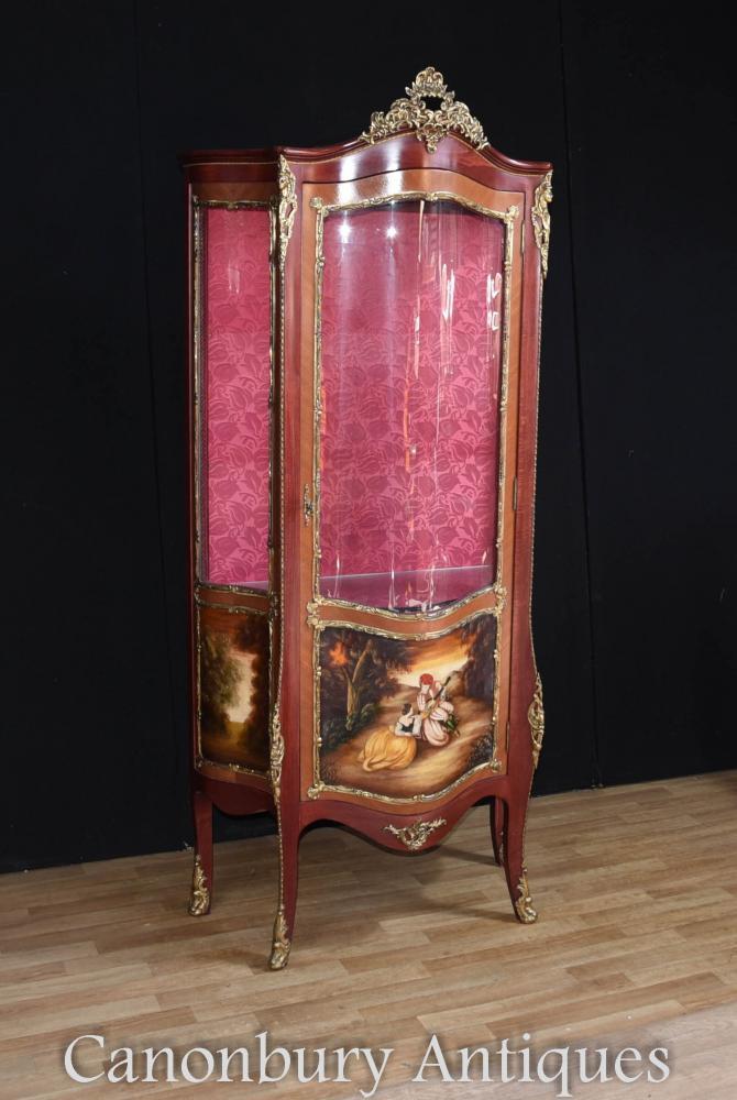 Louis Xvi Kingwood Display Cabinet Painted Vernis Martin