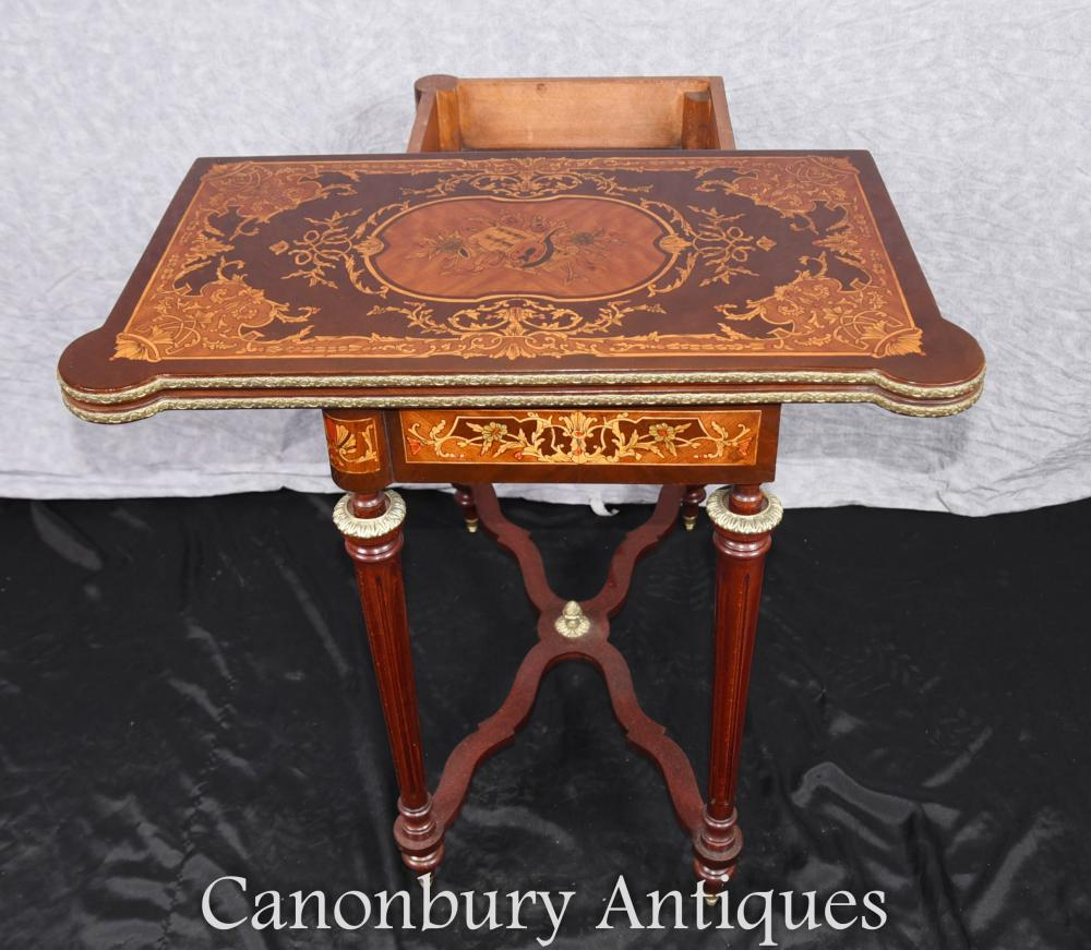 Louis xvi marquetry inlay chess games table side console for Table 85 address
