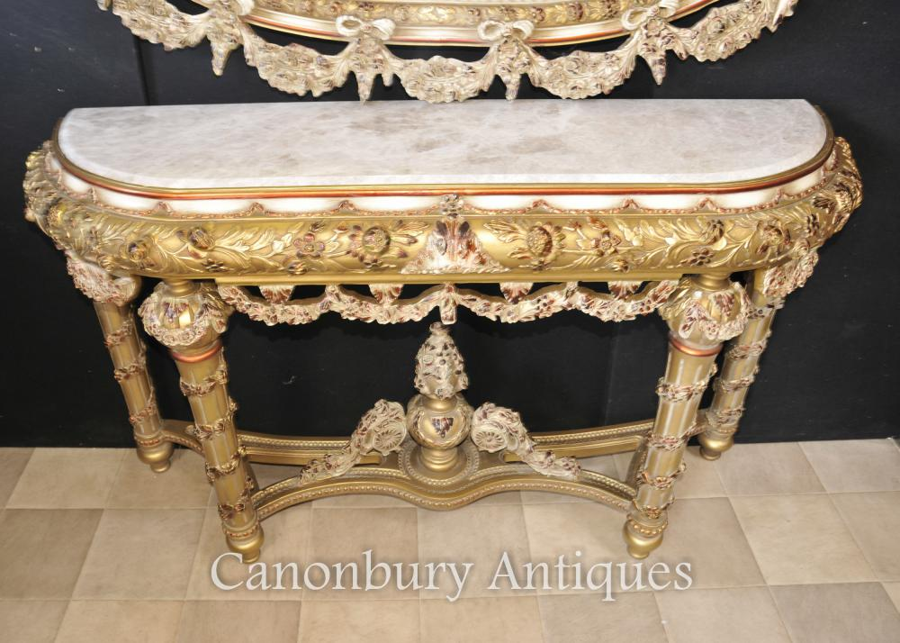 Louis Xvi Painted Console Table And Mirror Set Rococo