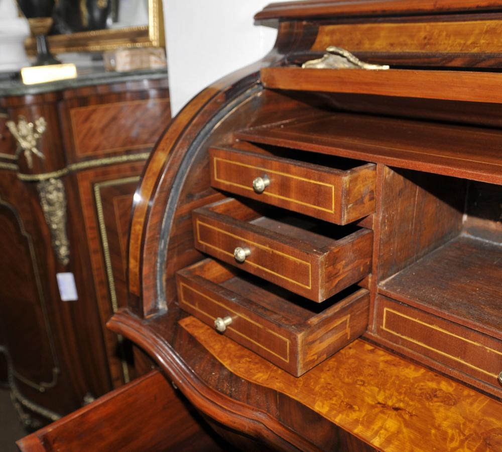 louis xvi roll top desk walnut bureau plat furniture. Black Bedroom Furniture Sets. Home Design Ideas