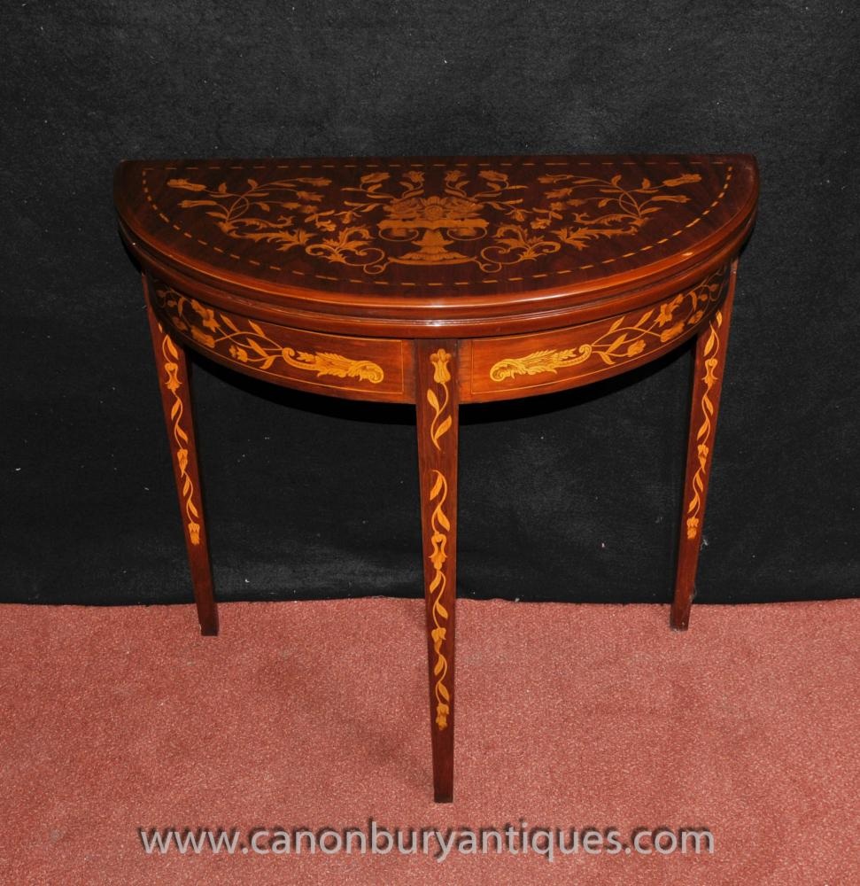 Mahogany Sheraton Card Table Marquetry Inlay Demi Lune