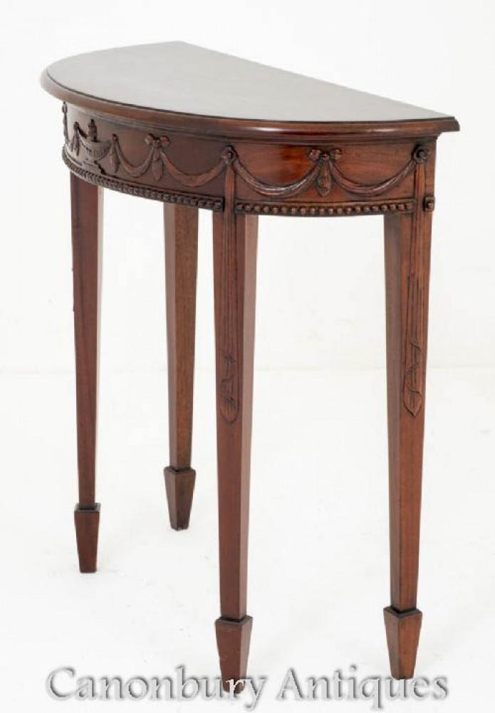 Mahogany Adams Demi Lune Console Table