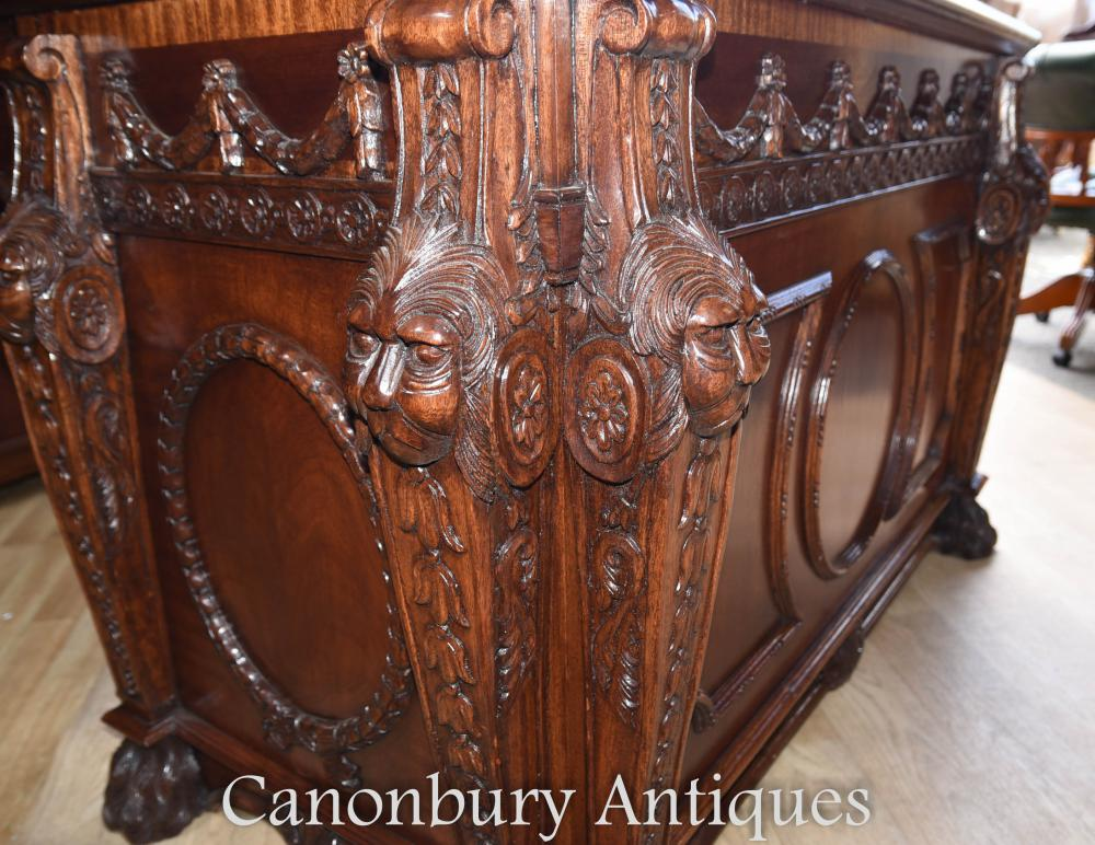 Mahogany Chippendale Nostell Prior Desk And Chair Set