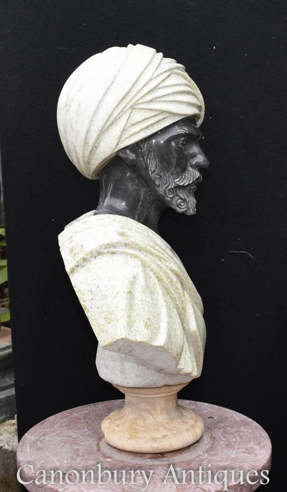 Marble Bust African Moor Statue Hand Carved Classical