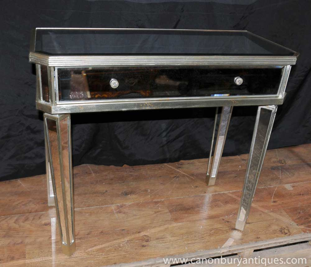 mirrored hall console table side tables mirror deco