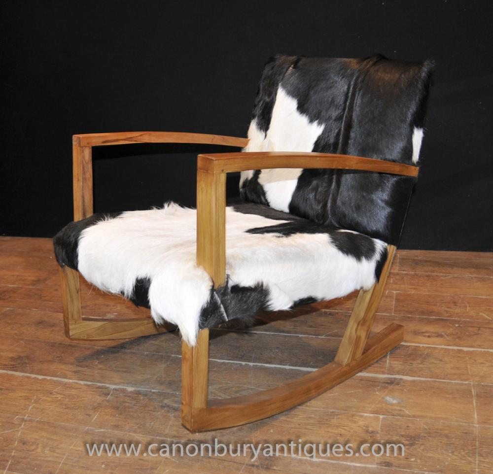 Modernist Funky Rocking Chair Animal Print Armchairs