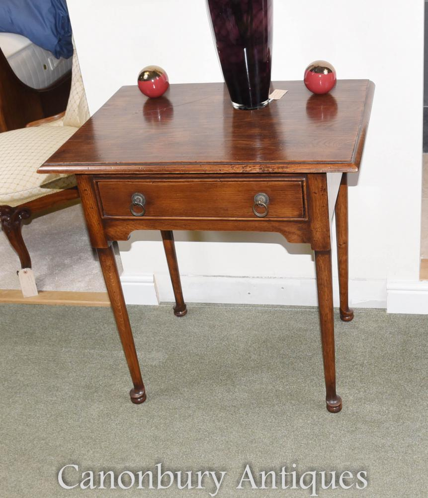 Oak pad foot queen anne side table ebay for Table induction 71 x 52