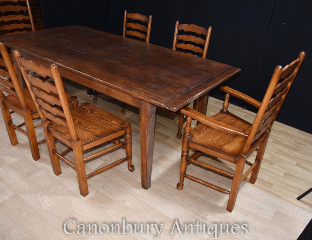 Oak refectory table set 6 ladderback chairs farmhouse for Oak farmhouse kitchen table and chairs