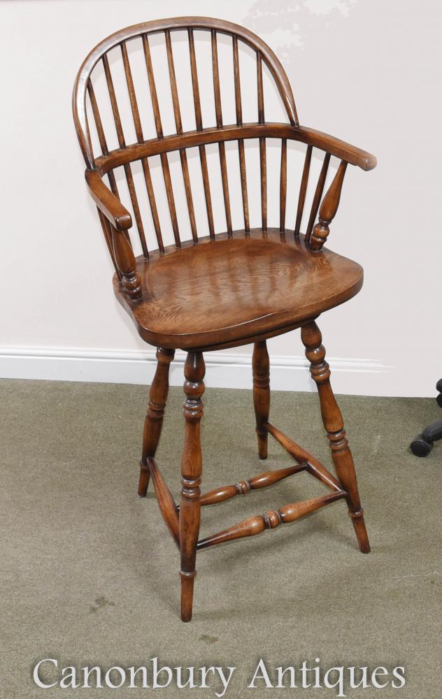 Oak windsor bar stool farmhouse kitchen dining chair