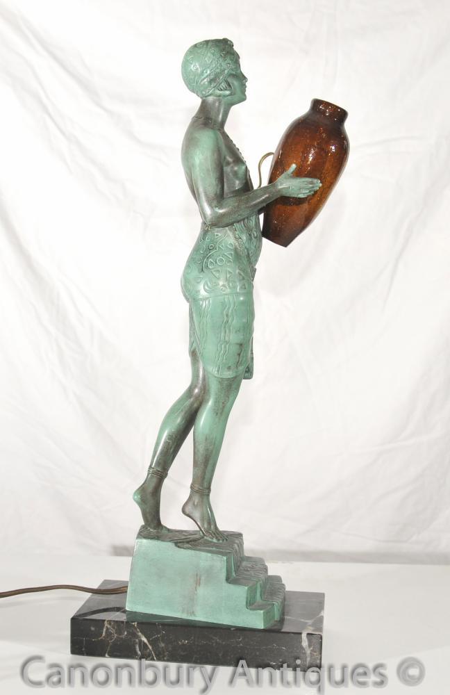 Original Art Deco Bronze Lamp Signed Faguays French Le Verrier Antique