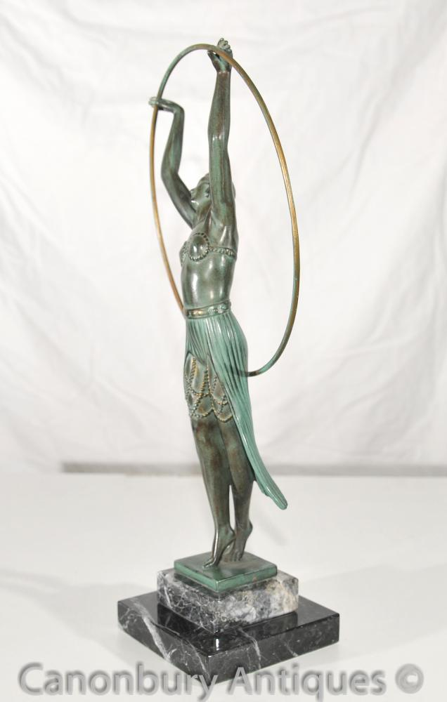 Original Charles Sykes Art Deco Hoop Girl Antique Statue