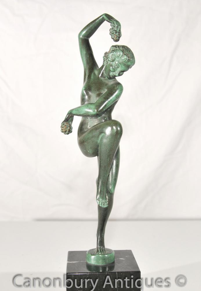 Original Vendanges Art Deco Bronze Antique Statue Le Verrier Foundry