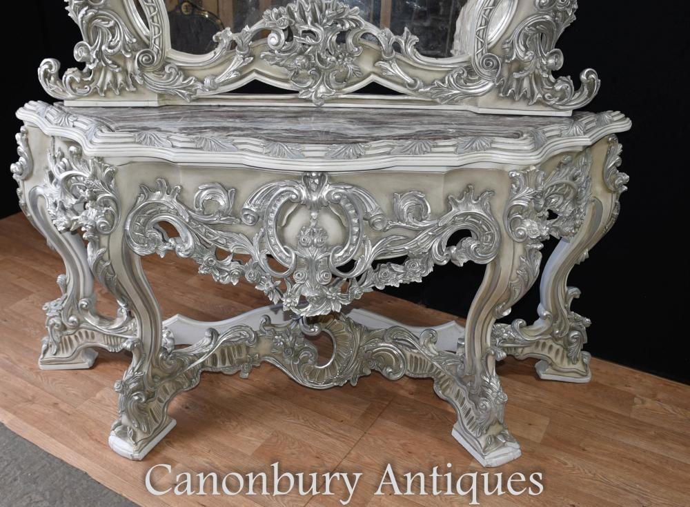 Painted Italian Rococo Silver Gilt Console Table And