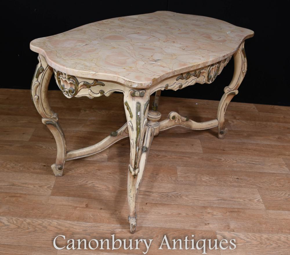 painted louis xv coffee table marble top. Black Bedroom Furniture Sets. Home Design Ideas